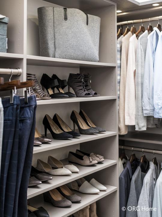 walk-in closet designer shoe shelves