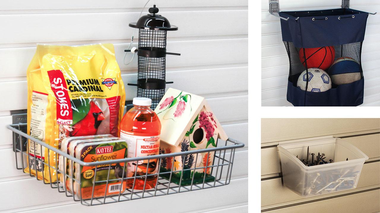 garage slat wall baskets bin bags