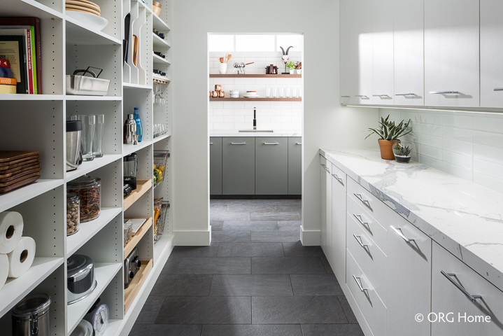 galley style organized pantry