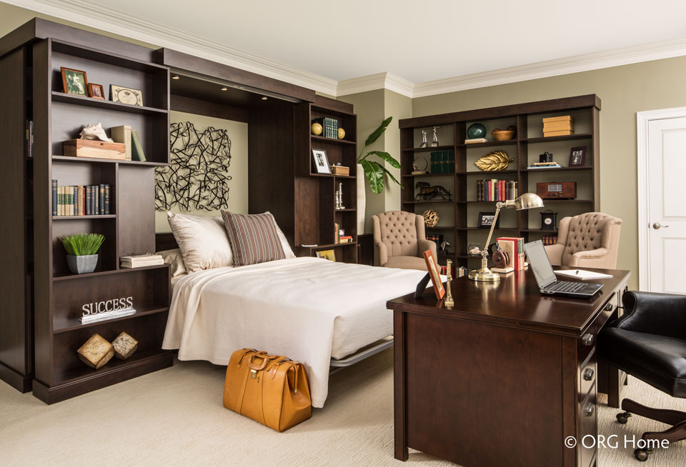 Murphy bed in home library